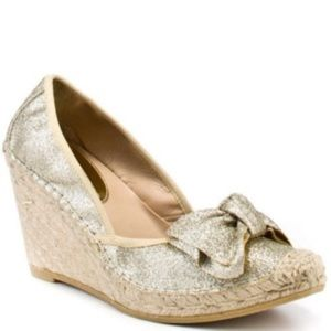 Ivanka Trump Gold Glitter Espadrille Wedge 6.5/7